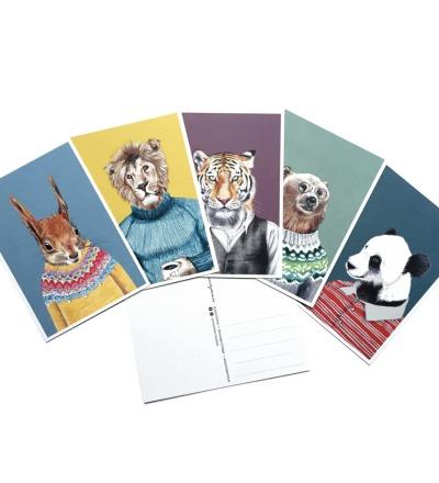 Postkartenset Tierportraits, 5 Postkarten im Set