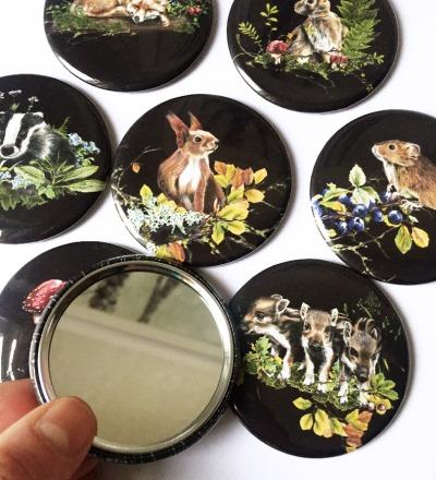 kleiner Taschenspiegel Waldtiere Motive zur Auswahl