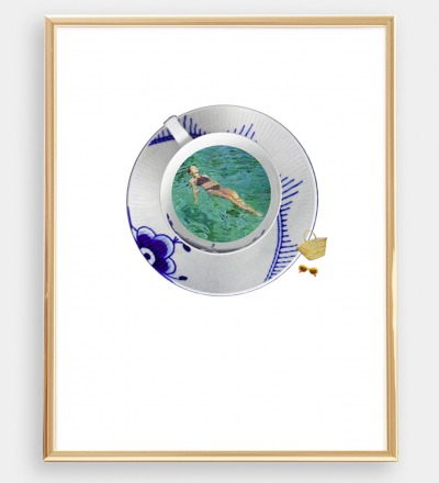 Sommer in Berlin Collage Poster Kunstdruck A4