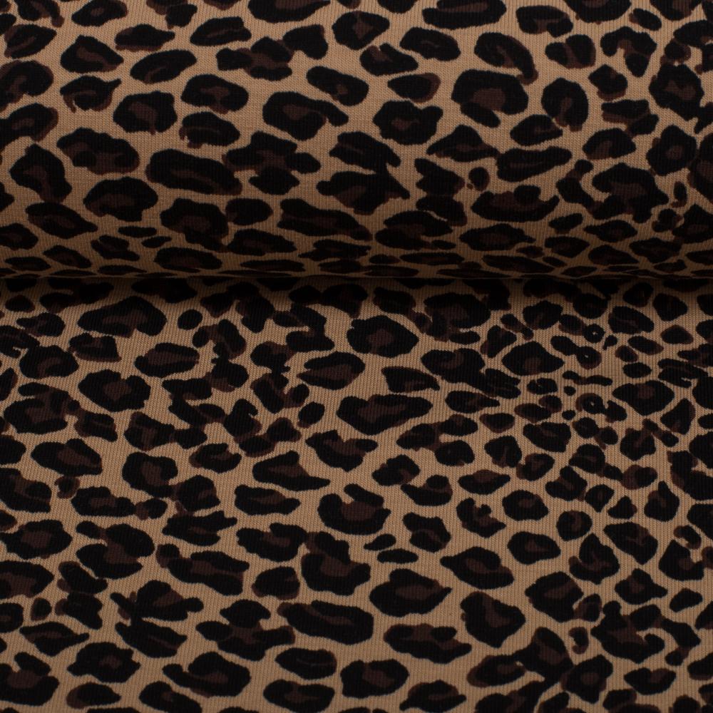 Jersey Leopard Leomuster Tiermuster Leoprint beige