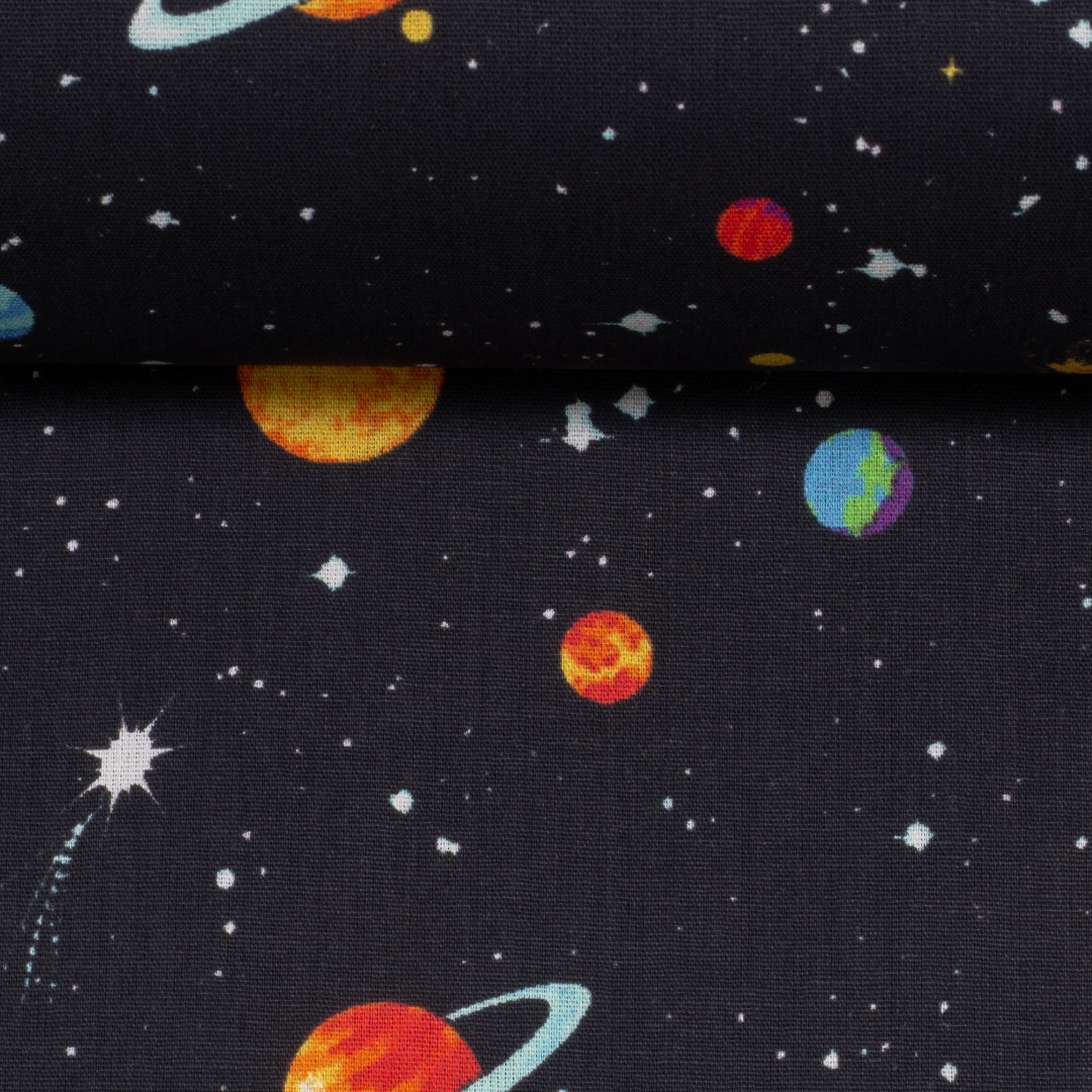 Baumwolle Weltall Weltraum Planeten Sterne 3