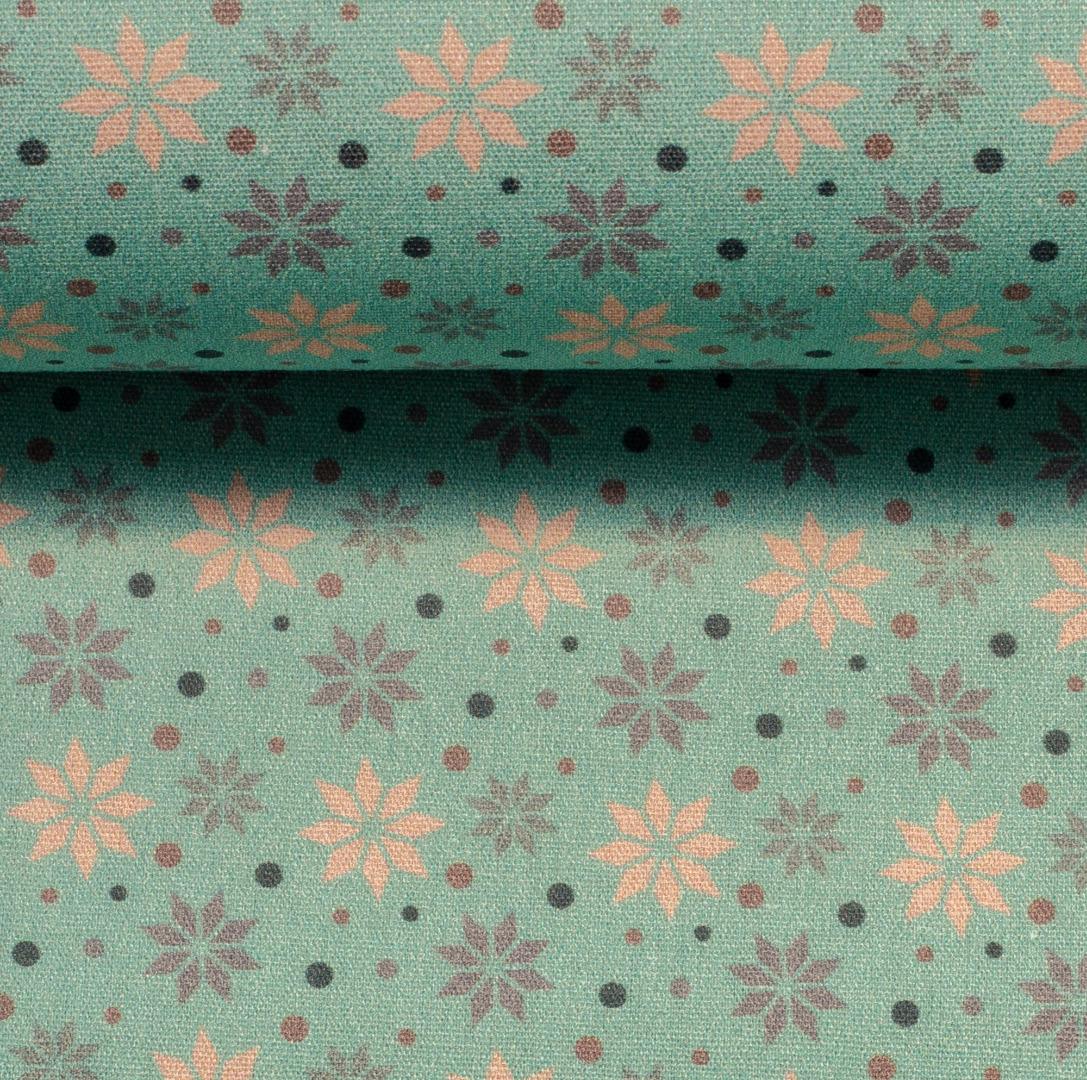Baumwolle Sterne mint Weihnachtsstoff 3