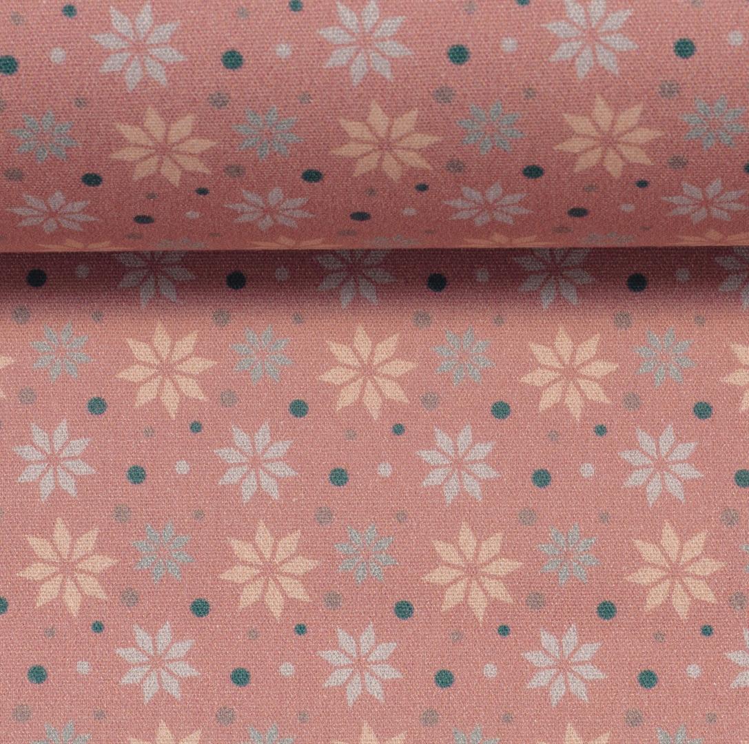 Baumwolle Sterne altrosa Weihnachtsstoff 3