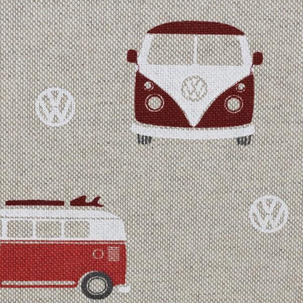 Dekostoff Taschenstoff VW- Bulli rot