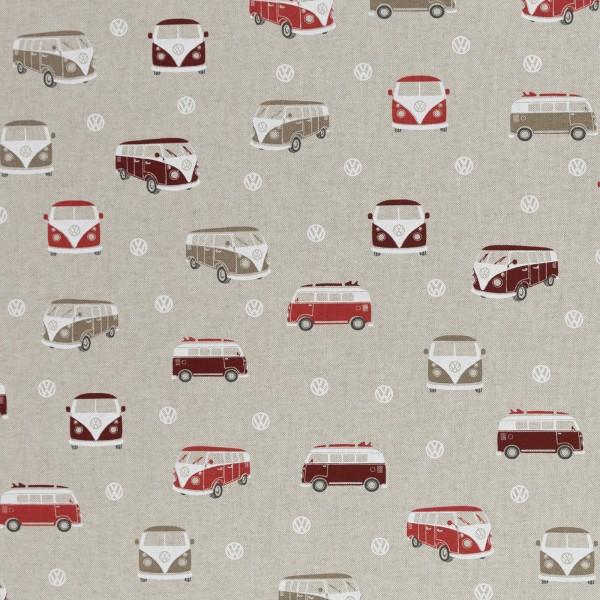 Dekostoff Taschenstoff VW- Bulli rot 2