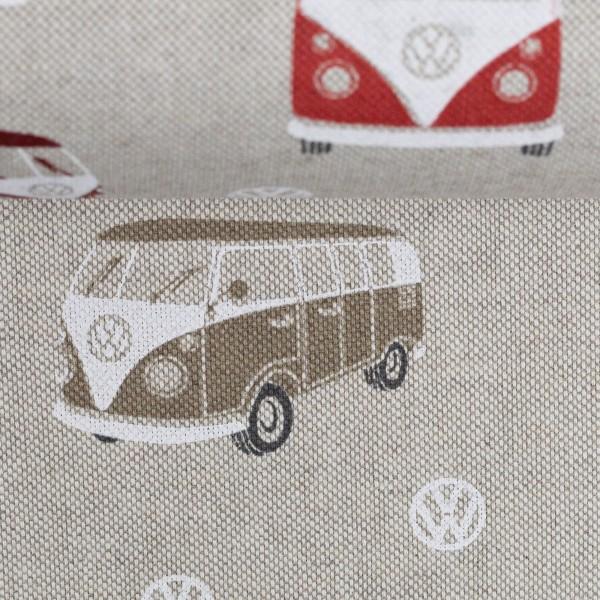 Dekostoff Taschenstoff VW- Bulli rot 3