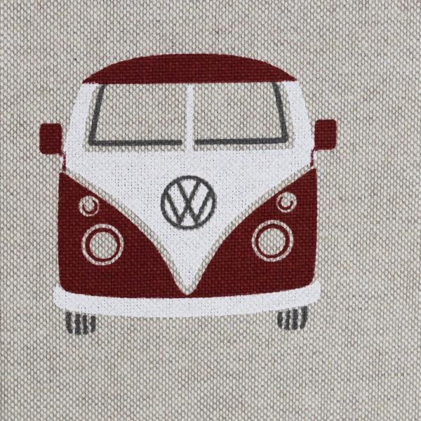 Dekostoff Taschenstoff VW- Bulli rot/ dunkelrot