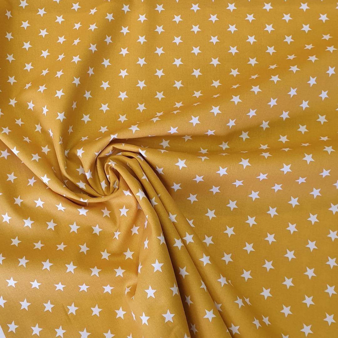 Baumwolle Sterne senfgelb weiß