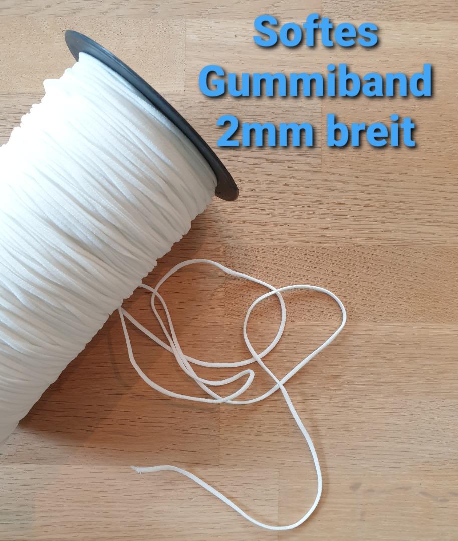 5m softes Gummiband 2mm weiß
