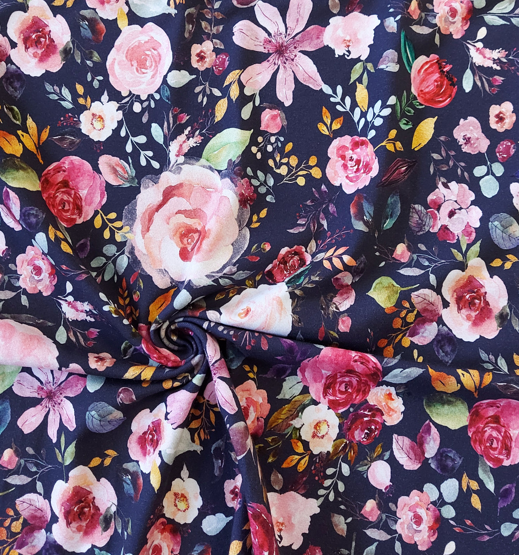 Jersey Blumen Aquarell Blumenbouquet 2