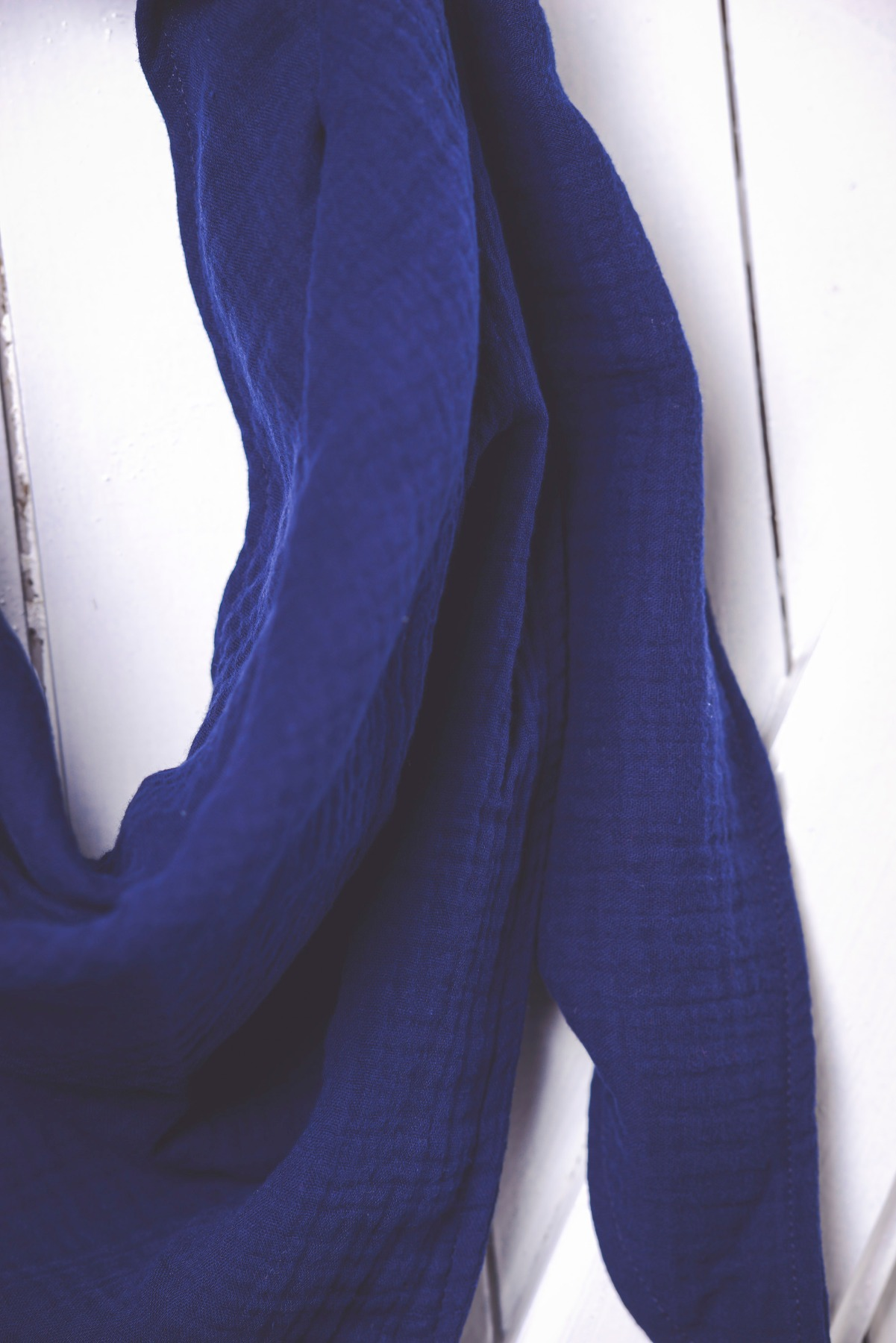 großes einfarbiges XL- Musselintuch einfarbig dunkleblau