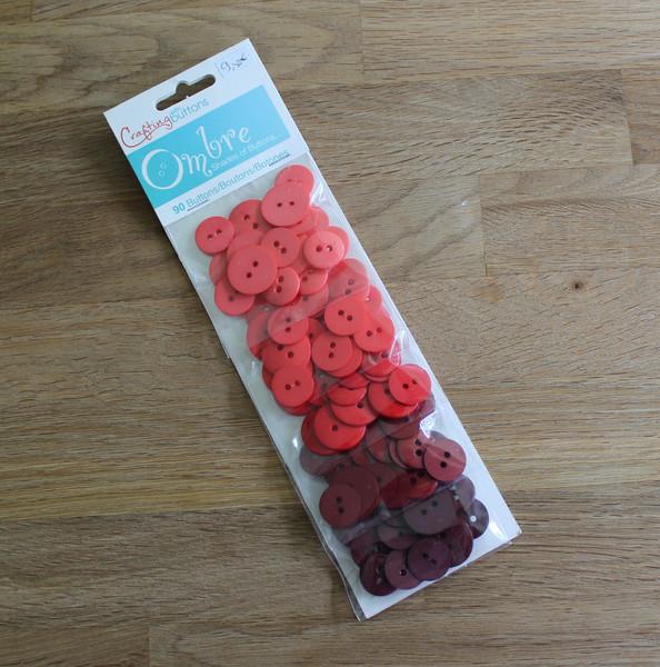90 Knöpfe Farbverlauf Knopf Set rot - 1