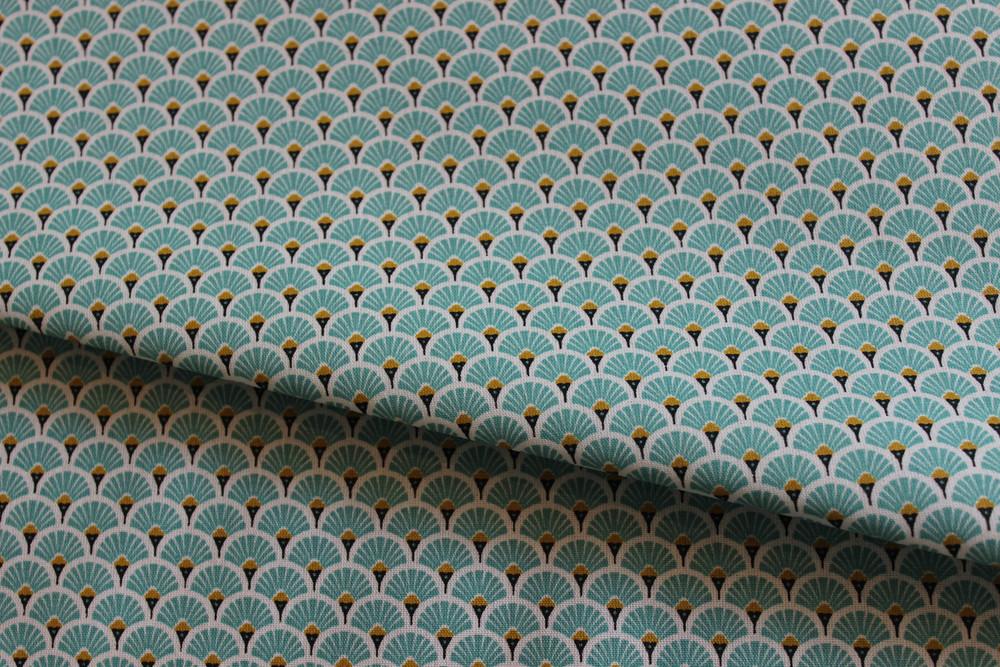 Beschichtete Baumwolle Ornamente mint