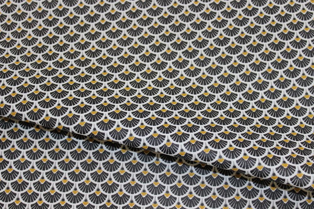 Beschichtete Baumwolle Ornamente schwarz