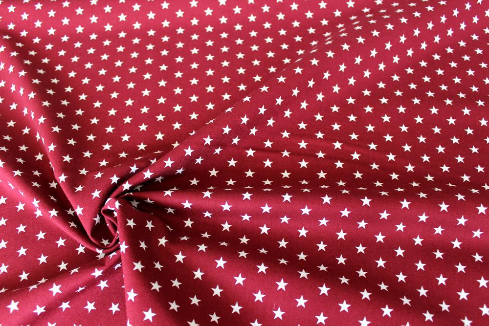 Baumwolle Sterne dunkelrot weiß
