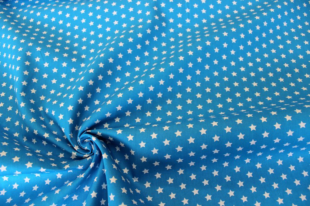 Baumwolle Sterne türkis weiß