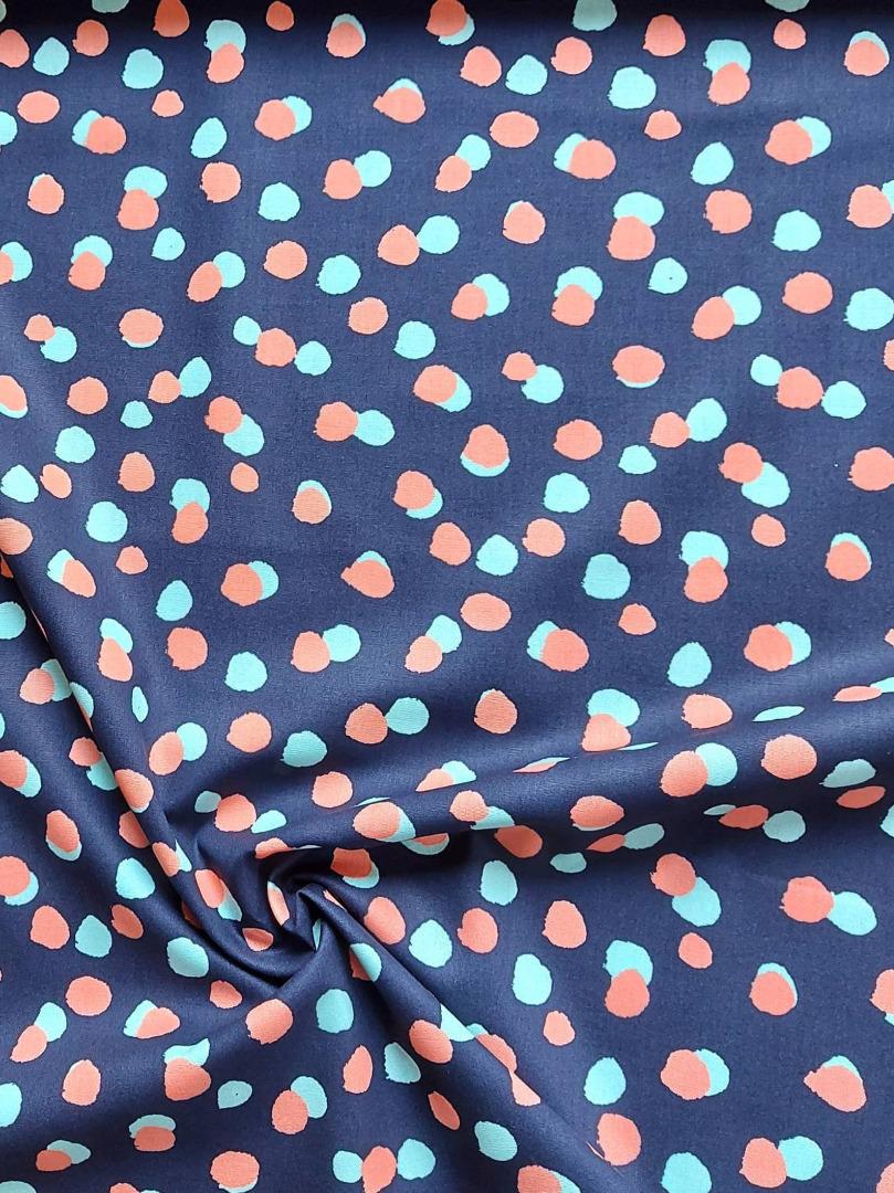 Baumwolle bunte Punkte blau mint koralle
