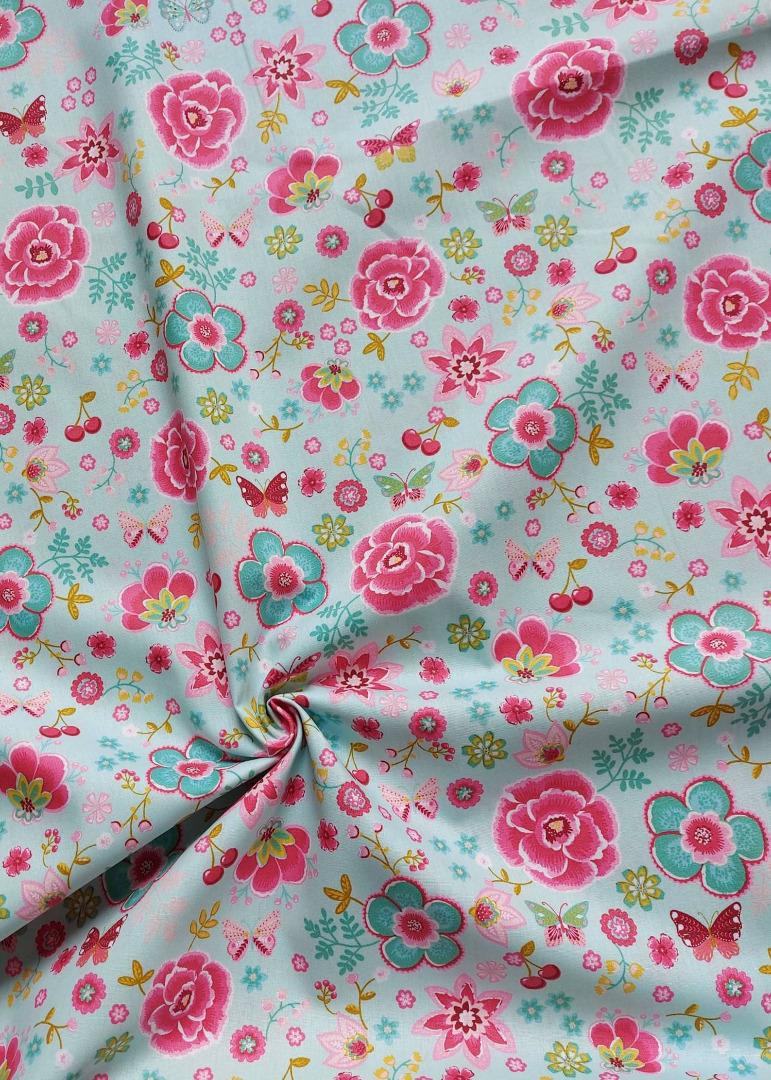 Baumwolle Blumen Schmetterlinge Blütentraum mint