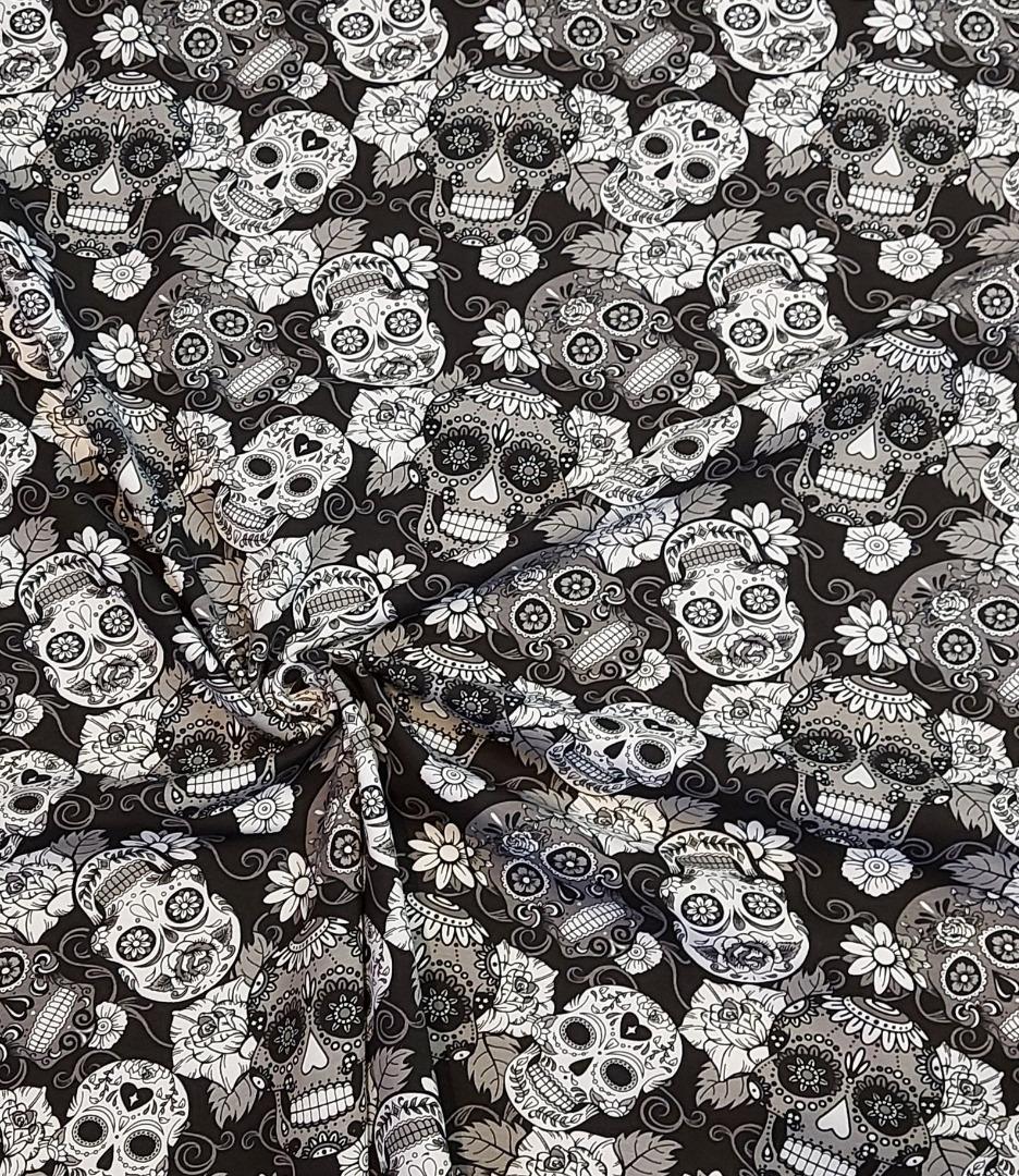Jersey Totenkopf Sculls Scull Blumen schwarz
