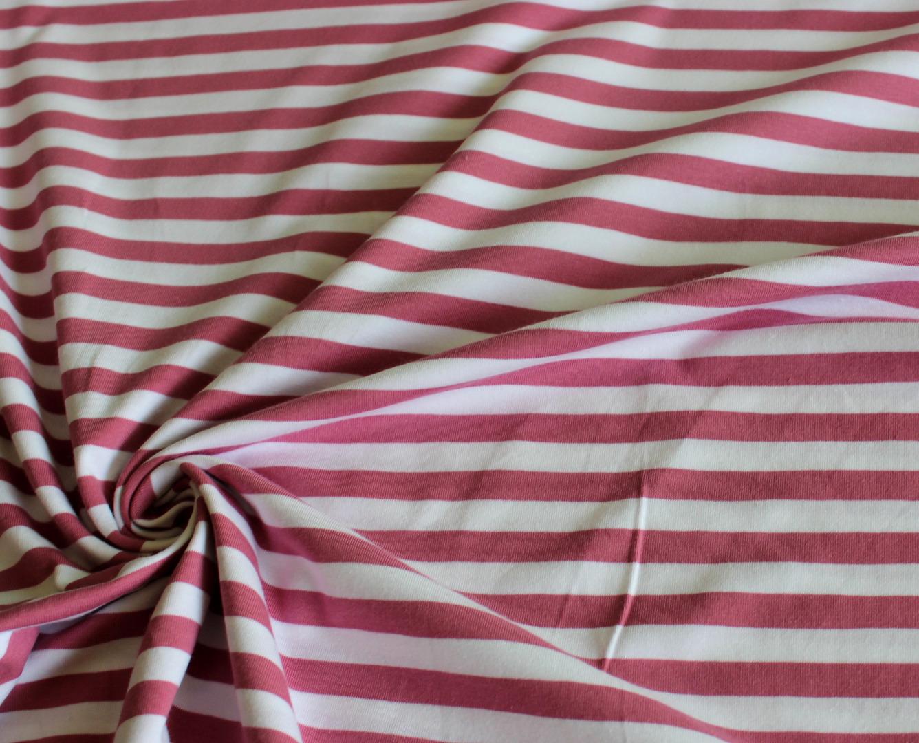 Streifenjersey Jersey Streifen rosa altrosa weiß