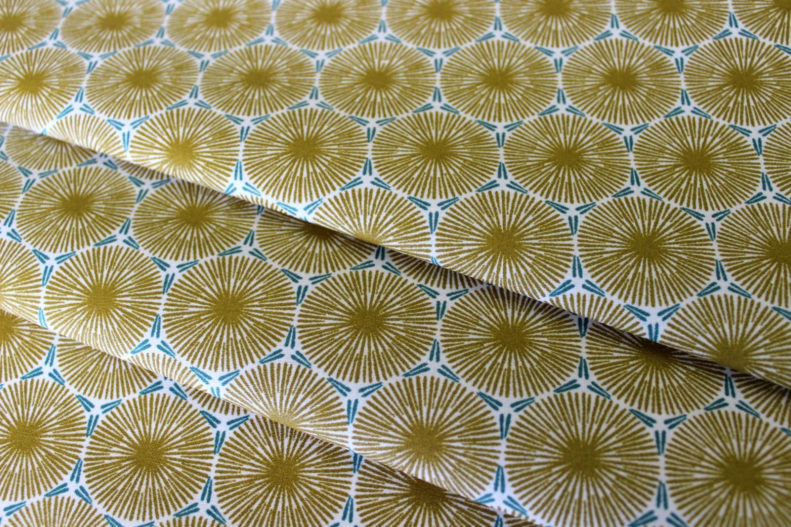Beschichtete Baumwolle Ornamente senf- mint 2