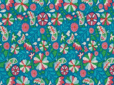 Butter Bloom by jolijou Swafing exclusive, petrol - florale Baumwollwebware für alle Gelegenheiten