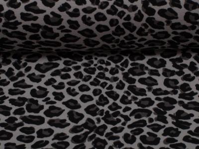 Jersey Leopard Leomuster Tiermuster Leoprint grau