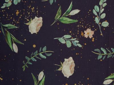 Baumwolle Blumen Rosen Tulpen mit Goldsprenkeln