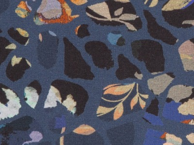 Jersey Blumen Swafing dunkelblau
