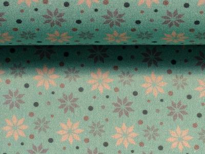 Baumwolle Sterne mint Weihnachtsstoff