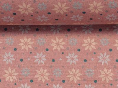 Baumwolle Sterne altrosa Weihnachtsstoff