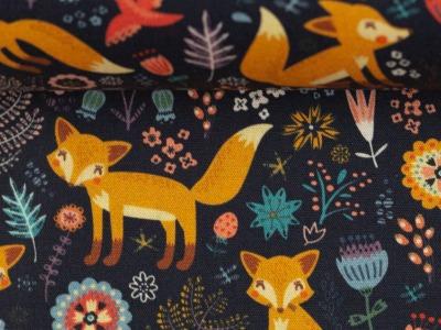 Baumwolle Waldtiere Füchse Fuchs dunkelblau Swafing