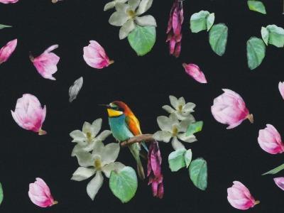 Baumwolljersey Blüten Vögelchen Vogel Swafing Sonado
