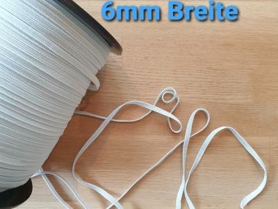 5m Gummiband 6mm weiß Perfekt für