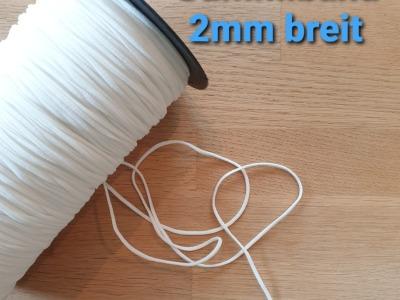 5m softes Gummiband 2mm weiß Perfekt