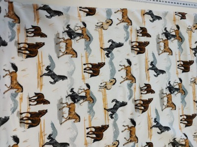 French Terry Pferd Pferde hellgrau