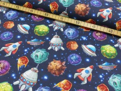 Baumwolle Weltall Weltraum Planeten Raketen blau