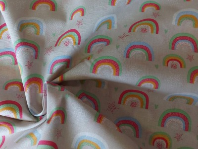 Baumwolle Baumwolle Regenbogen hellgrau