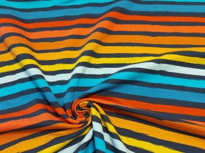 French Terry Streifen blau bunt Ringel