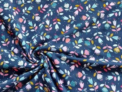 French Terry Blumen Blümchen dunkelblau