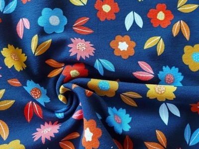 French Terry Herbstblumen Blumen blau
