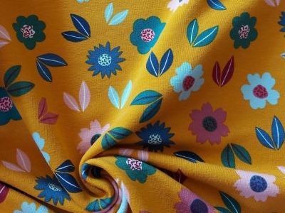 French Terry Herbstblumen Blumen gelb