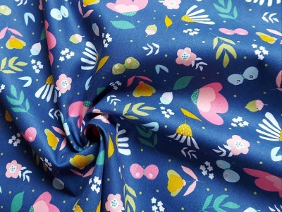 Baumwolle Blumen Schmetterlinge Blumenmmeer dunkelblau