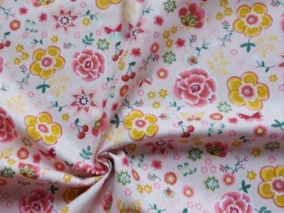 Baumwolle Blumen Schmetterlinge Blütentraum rosa