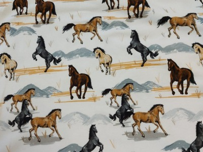 French Terry Pferd Pferde weiß