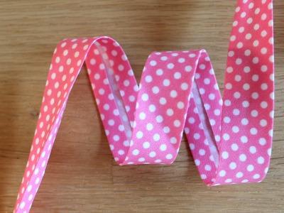 1m Schrägband Punkte 18mm pink