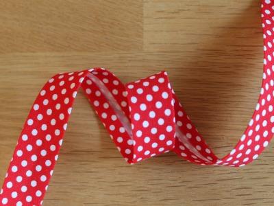 1m Schrägband Punkte 18mm rot