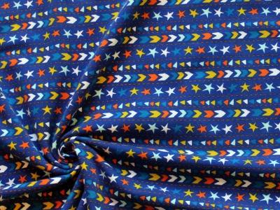 Jersey Sterne Dreiecke Punkte blau - Must-have-Jersey mit kleinem Muster, der Hingucker bei deinem neuen Projekt