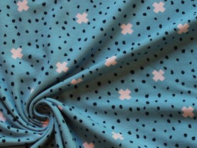 Jersey Kreuze und Punkte blau - Must-have-Jersey mit kleinem Muster, der Hingucker bei deinem neuen Projekt