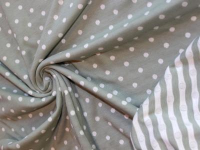 Doubleface- Jersey Jaquard- Interlock Punkte und Streifen mint weiß - einer der Must-haves in dieser Saison